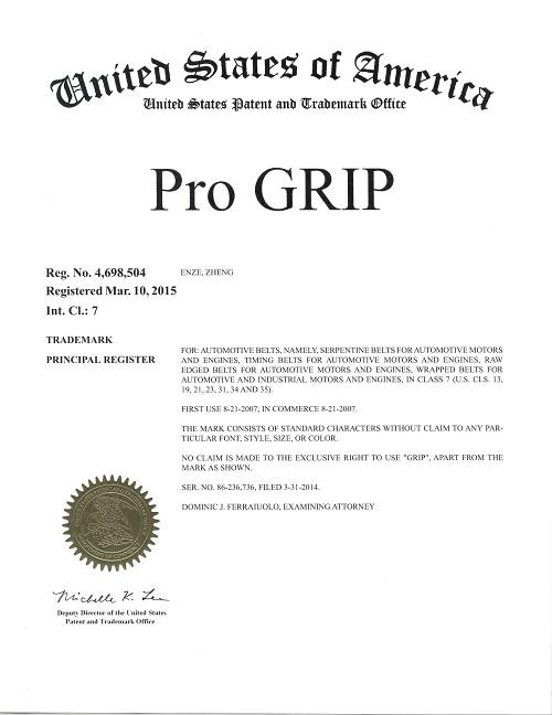 ProGrip37266                                 - USA CERTIFICATE REG NO4,698,504                                 - ProGrip Belt                                 ....193276
